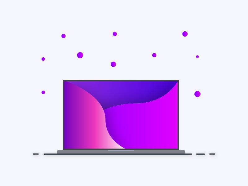 Laptop illustration gradient flat minimal vector illustration design