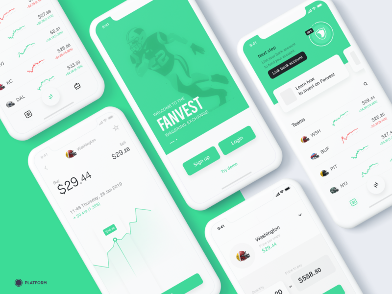 Fanvest - mobile app iphone interface app ux ui design fantasy football fantasy sports football app football american football mobile app mobile