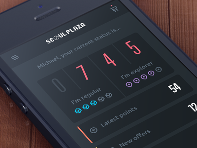 Loyalty App Dashboard loyalty colors flat clean app mobile ui dark