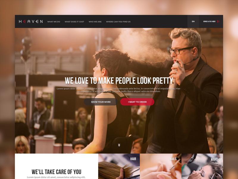 Heaven heaven grid website landing page hair salon beauty flat dark