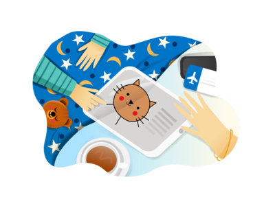 Illustration for Kids App empty state bedtime story book read child kids onboarding ipad illustrations