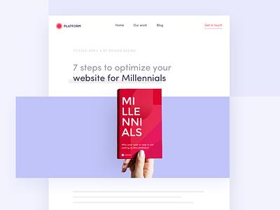 7 steps to optimize your website for Millennials e-book blog interface website navigation mobile clean flat illustration millennials design ui ux