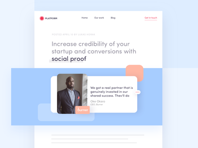 Increase credibility of your startup with social proof ux interface ui clean app website testimonial socual proof blog