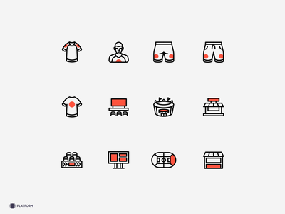 Sponsor.online - Inventory Icons iconography football badge soccer badge soccer ball footballer football club illustration design ui design system icon soccer pitch football sport icons set