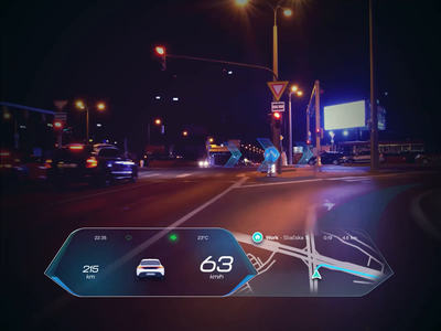 The Future of AR in Cars - Directions & Road Awareness automotive industry design ui ux case study automotive cars car dashboard windshield future futurism autonomous car animation car interface ar augmentedreality