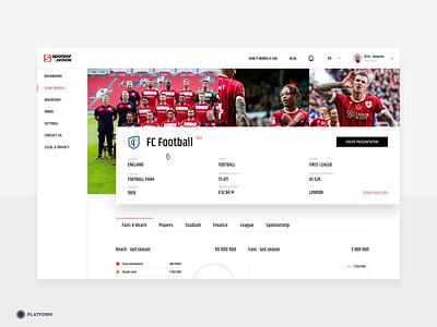 Sponsor.Online - Smart Analytics interface website design ux ui dashboard sport sponsorship soccer club footballer football club sponsor soccer football