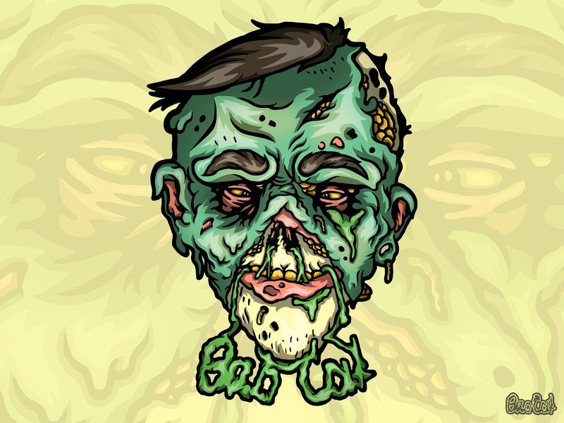 Zombie head illustration walking dead stickerdesign stickers sticker zombie head zombie