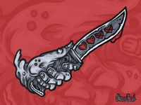 Hand with knife