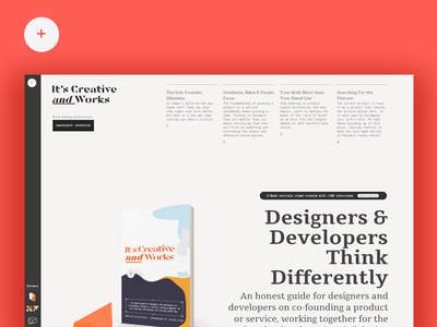Creative and Works Book Home Page and brand minimal simple layout magazine creative agencies manual cover form interview site interview book cover book