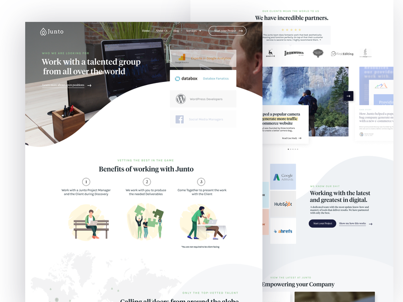 Junto 2019 Redesign Innerpages illustrations careers page development services service pages innerpages website desktop web