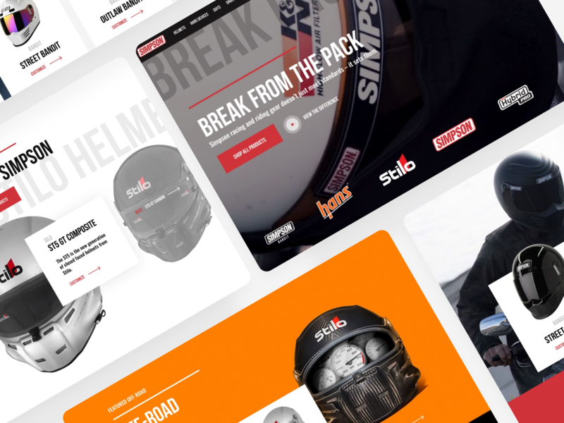 Work in Progress for Simpson ecomerce bikes gloves ecommerce website sports brand sports motor motocycle helmets lifestyle