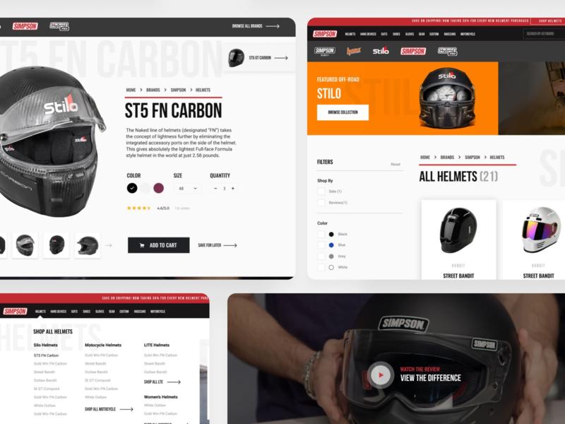 Simpson Helmet Dept. Redesign eccommerce page store page store front store ecommerce video sports sport helmet helmets