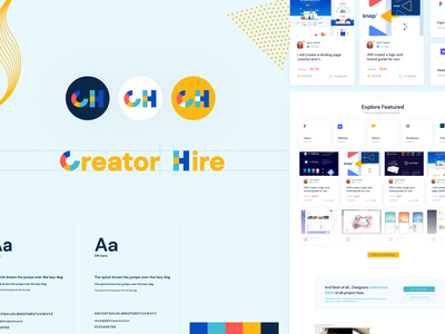 Creator Hire Branding website ui marketing marketplace card design landing page typeface logotype brand design logodesign logo branding design branding