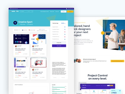 Creative Hire Inner Pages illustration design animation brand website dashboard ui webflow landing page branding