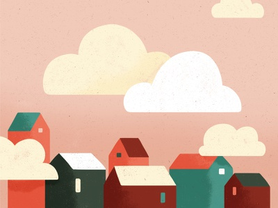 Head in the clouds girl clouds home photoshop colors texture flatdesign minimalist illustration