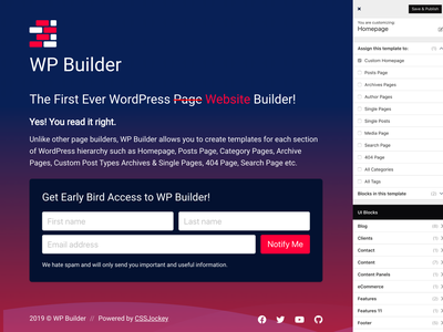 WP Builder - Coming Soon subscribe design wordpress under construction coming soon landing page