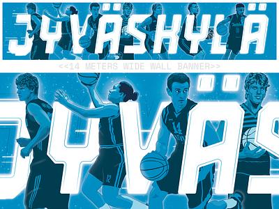Gigantic Basketball Banner basketball banner illustrator vector design sports illustration finland