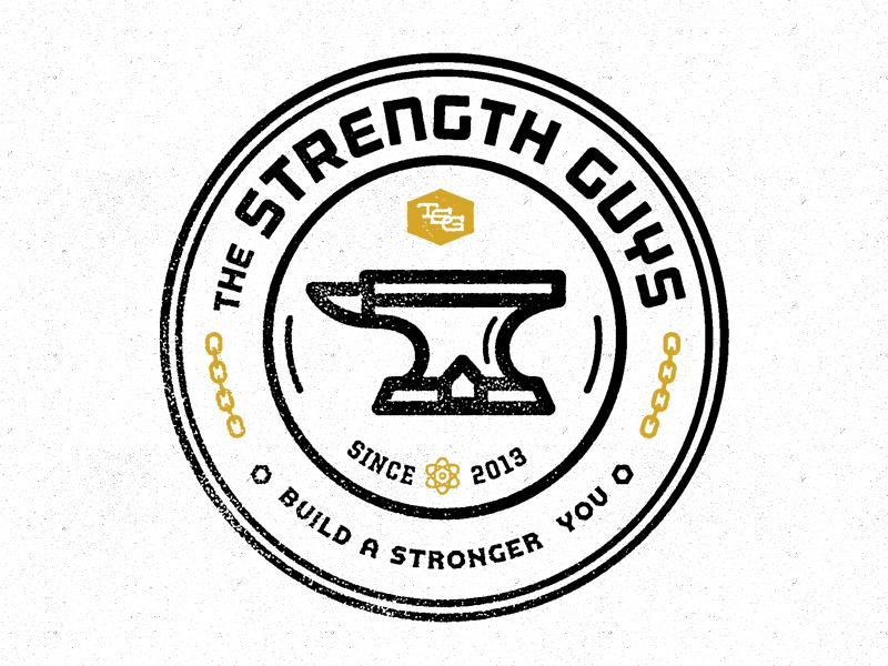 The Strength Guys logo seal emblem black gold strength fitness bold anvil forefathers