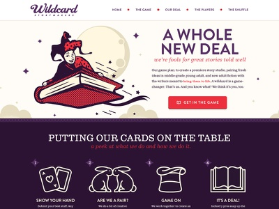 Wildcard Storymakers website illustration icons purple red cream forefathers