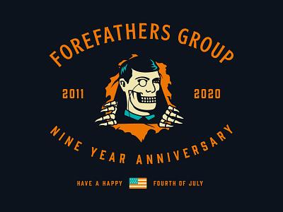 Forefathers 9 Year Anniversary logo designer web designers milluh louie beans illustration graphic design brand designers forefathers 9th year anniversary