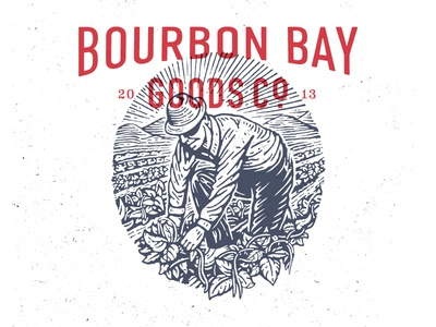 Bourbon Bay Goods Co. branding logo illustration vintage type
