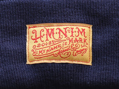 HMNIM Beanie type branding lettering beanie tag clothing forefathers