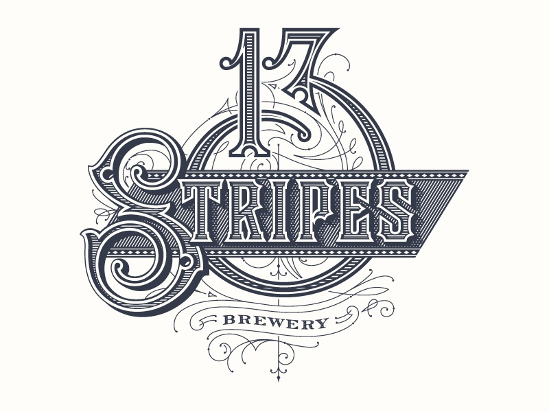 13 Stripes Brewery package design logo illustration vintage type type typography illustrated type forefathers