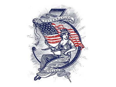 Happy 3 Years! forefathers 4th of july vintage label illustration independence red white and blue