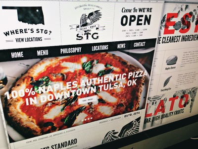 STG Pizzeria & Gelateria  website responsive pizza black and white typography responsive web old world craft forefathers