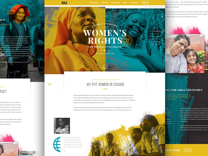 PAI Annual Report web design web landing page homepage webpage humanitarian womens rights charity rights website