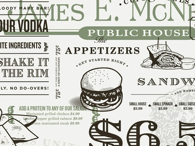 McNellie's Irish Pub Menu hamburger typography irish pub restaurant food illustration menu type