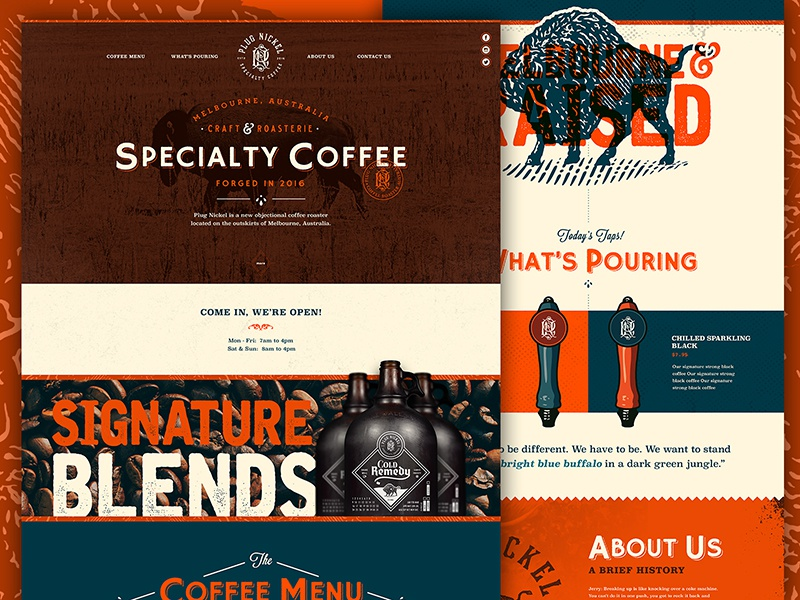 Plug Nickel Specialty Coffee Website! texture retro web homepage one page illustration type vintage website