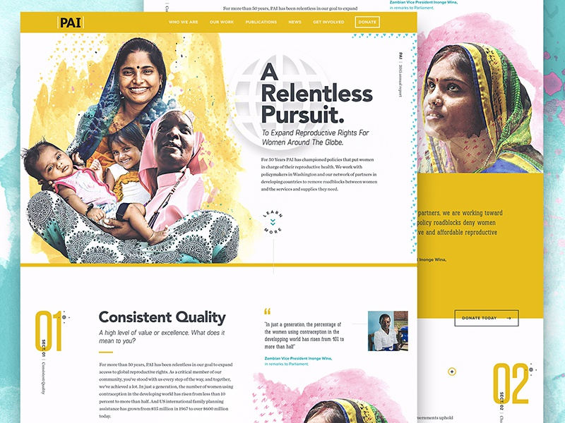 PAI - Annual Report 2015 watercolor yellow rights charity global women vibrant type ui ux website homepage