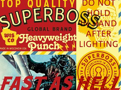 SUPERBOSS ID Materials retro website system seals illustration typography collage web brand id branding badges