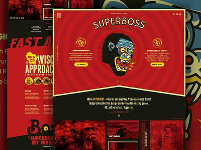 SUPERBOSS Website Design black homepage responsive illustration type red boss super ux ui website web