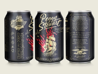 13 Stripes Brewing - Peggy Stewart Porter Can Design 13 stripes forefathers illustrations package design packaging print design can design craft beer beer label labels beer
