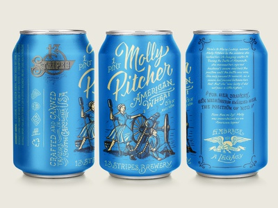13 Stripes Brewing - Molly Pitcher American Wheat Can Design 13 stripes forefathers illustrations package design packaging print design can design craft beer beer label labels beer