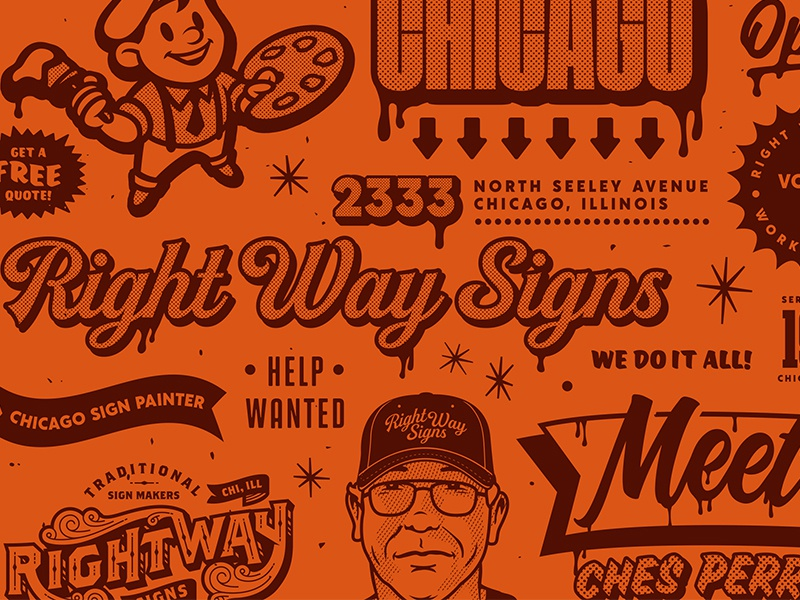 Right Way Signs Print Pattern forefathers group forefathers chicago drips signs paint print design brochure orange retro illustration pattern