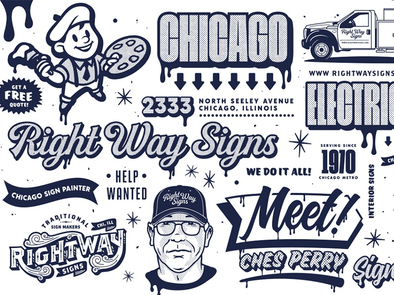 NEW WORK: Right Way Signs forefathers right way signs chicago retro hand painting websites web design print design print illustration brand