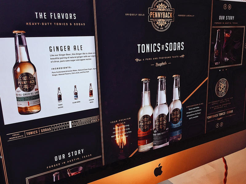 Pennyback Tonics and Sodas Website packaging onepage soda tonic gold homepage websites uxdesign packagedesign branding brand responsive websitedesign webdesign website