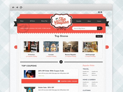 The Top Coupon homepage coupon deals stores blue red white light