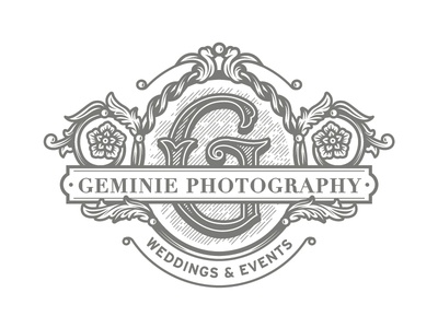 Geminie Photography logo logo design vintage logo vintage floral