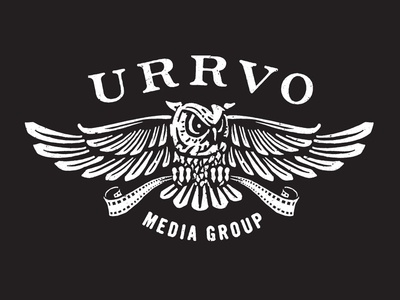 URRVO Media Group logo media owl black white film video videography logo design logo concept