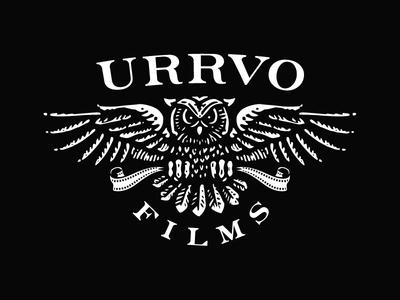 URRVO logo media owl black white film video videography logo design logo concept