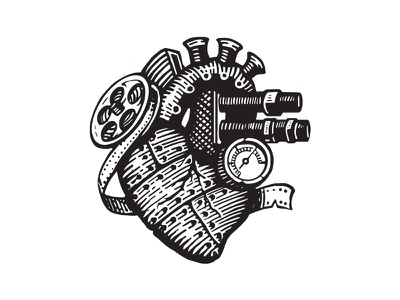 Heart illustration black white steampunk heart linework forefathers