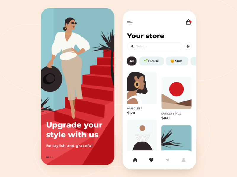 Сlothing store - Mobile app style girl design concept application store interface filter search order ios ui ux adobe illustrator figma clothing store ecommerce illustration mobile arounda