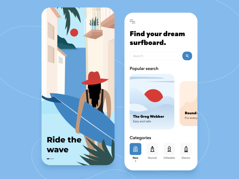 Surf Store - IOS Application minimal concept product design application trip abstract clean cards store interface ios ui ux adobe illustrator figma surfing ecommerce illustration mobile arounda