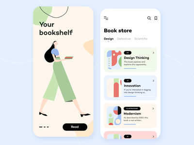 Book Store - Mobile App saas notification tracking design color concept store application digital product illustrations search ui ux figma reading literature books product design mobile app arounda