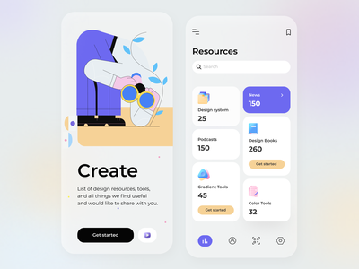 Design Resources - Mobile App mobile app search tools color ui ux ios icon gradient illustrators figma illustrator mobile 3d icons resources design concept cards application arounda