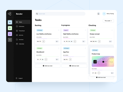 Collab - Web app ui ux figma concept interface search gradient product map double sidebar workspace projects tasks service software project management kanban board saas web application product design arounda